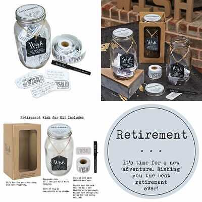 RETIREMENT WISH JAR Personalized Gift For Men & Women Unique Thoughtful  Ideas Mo