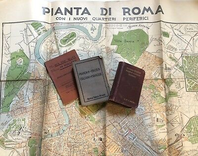 Vintage 1920s Map of Rome and European Phrase & Translation Aids