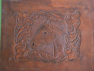 """Vintage tooled/stamped leather panel horse head equestrian horses pony 12"""" x 11"""""""