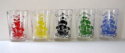 1936 Galleon Swanky Swigs * Kraft Cheese Glasses * Complete Set 5 Color Tumblers