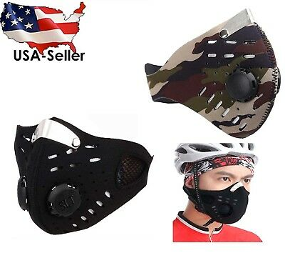 Face Dust Mask Air Filter Charcoal 5-Stage BLACK CAMO
