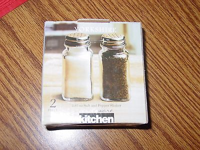 Circleware Yorkshire Salt and Pepper Shakers, 2.87 ounce Glass w/ metal tops NIB