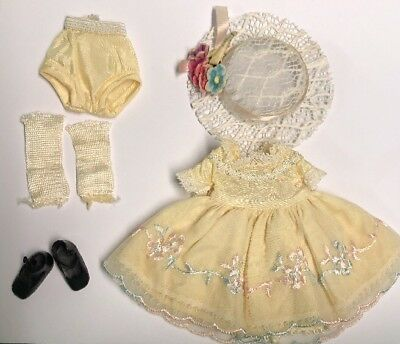 """Betsy McCALL 8"""" Yellow Birthday Party Dress Panties Hat ChunKy Socks & Shoes"""