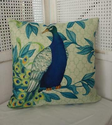 Teal Turquoise Blue Peacock Linen Blend Cushion Cover 45cm