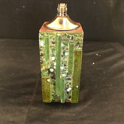 Desk or Table Cigarette Lighter Art Glass And Wood Vintage Collectible