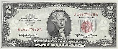 $2 1963A RED SEAL LEGAL TENDER CHOICE NEW UNCIRCULATED s/n A16877495A