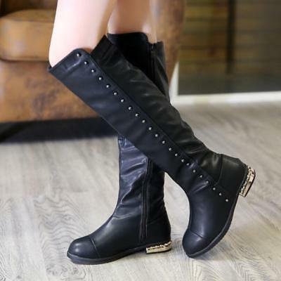 Kids Girls Rivets Low Flat heel Over Knee High Riding Boots Winter Warm Shoes