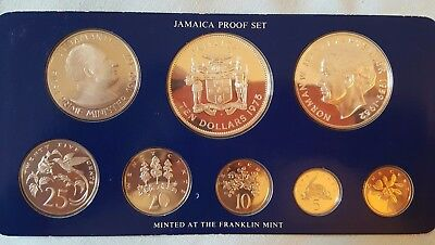 JAMAICA : 1975 Mint Proof Set of 8 Coins : Minted at The Franklin Mint (Sealed)