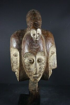 African BWAMI Initiation mask with 3 faces - LEGA tribe, D.R. Congo TRIBAL ART