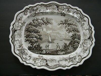LARGE ANTIQUE STAFFORDSHIRE TRANSFERWARE PLATTER / TRAY w ROMANTIC VIEW - 19thC