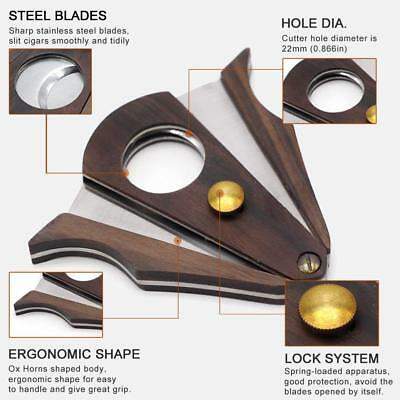 Ring Gauge Double Blades Cigar Cutter COHIBA Wood Pocket Guillotine Stainless