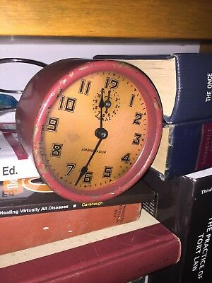 Old Ambassador Steam Punk Clock Red Distressed Shelf Art