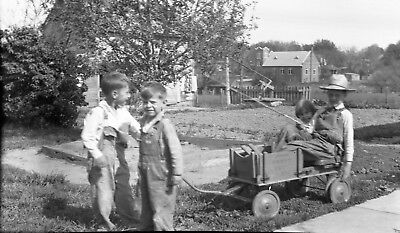 "Boys, Old Wooden Wagon, ""Heavy Duty"", Overalls, Large Negative, Antique, Toys"