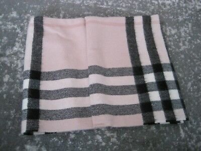 Burberry Children Infinity Snap Neck Scarf Pink Black White Plaid FITS WOMEN