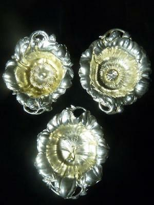 3 REED & BARTON Les Cinq Fleurs STERLING SILVER NUT DISH BOWL Orchid Rose Poppy
