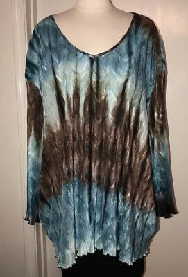e90035a85d4 4X 5X Maggie Barnes Womens Plus Size Teal Brown Shades Stretch Crinkle  Blouse