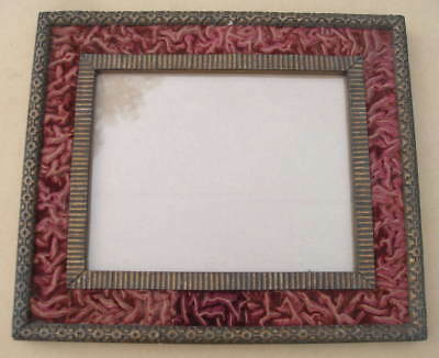 ANTIQUE VICTORIAN ORNATE CRUMPLED RED VELVET and GOLD GESSO WOOD PICTURE FRAME