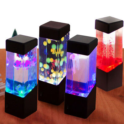 Mini Aquarium Jelly Fish LED Light Glowing Aquarium Fish Tank Lamp Home Decor