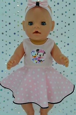 "Play n Wear Doll Clothes To Fit 17"" Baby Born POLKA DOT CIRCLE DRESS~HEADBAND"
