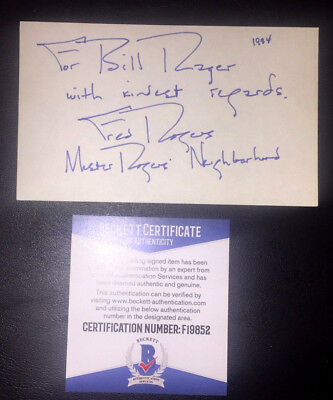 AUTOGRAPHED BECKETT Certified 3x5 index card Mister Rogers FRED ROGERS