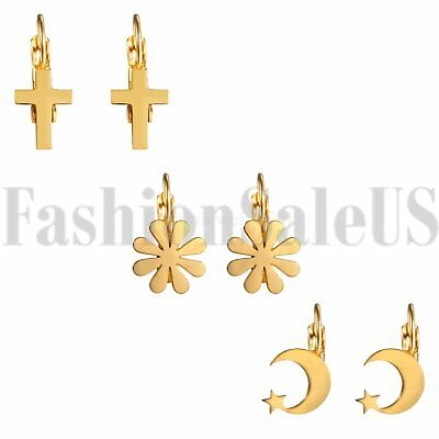 5pc 304 Stainless Steel Moon Charms Smooth Blank Gold Tone Dangle Pendant 15.5mm