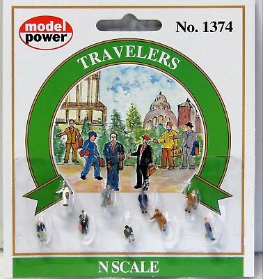 MODEL POWER #1374 N scale TRAVELLERS 9 pieces New on card