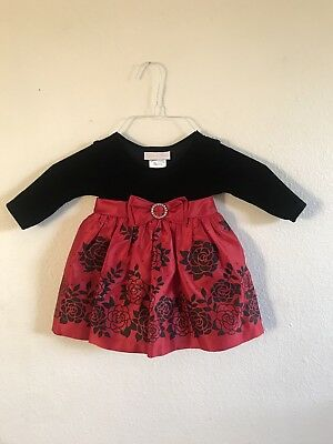 Baby Girl 3-6month  Black Red Ribbon Floral Christmas Party Dress BONNIE BABY