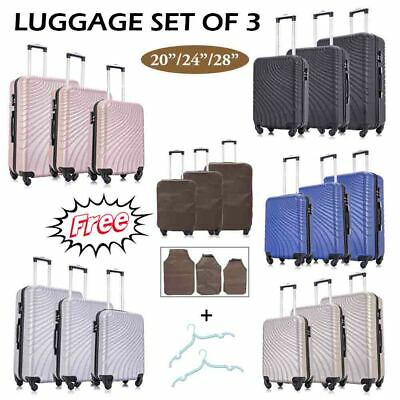 "20"" 24"" 28"" 3 Pieces Luggage Set Travel Bag ABS Trolley Spinner Suitcase w/Lock"