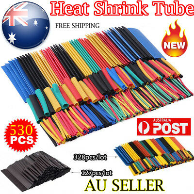 127/328/530Pcs Assortment Heat Shrink Sleeve Electrical Cable Tube Tubing Wrap