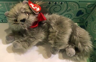 Ty Beanie Baby ~ BEANI ~ Grey Gray Long- Haired Kitten Cat