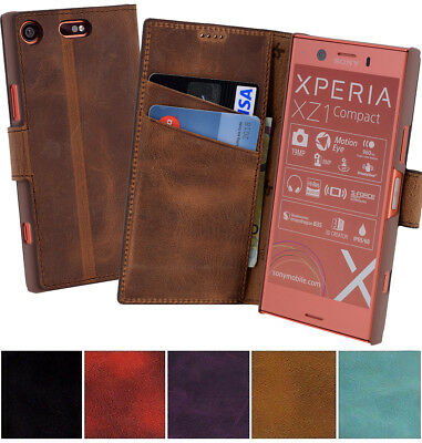 Sony Xperia XZ1 Compact Leather Bag Bag Book Case Protective Cover Wallet Case