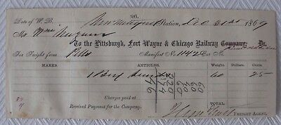 Antique 1869 Pittsburgh, Fort Wayne, Chicago Railway Freight Manifest - RR Paper