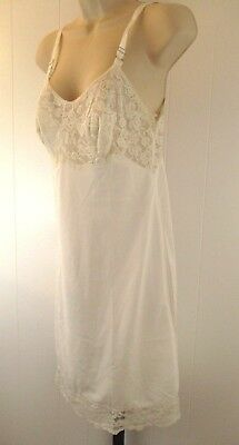 cc21616e55d37 Vintage Shadowproof Ivory Full Slip Silky Nylon Lace Adjustable 32 Average  js