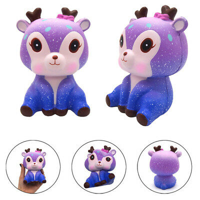 Kawaii Galaxy Deer Cream Scented Slow Rising Squeeze Strap Kids Toy Gift US Ship