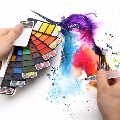 18/25/33/42Colors Portable Solid Water Color Paint Pigment With Water Brush Pen