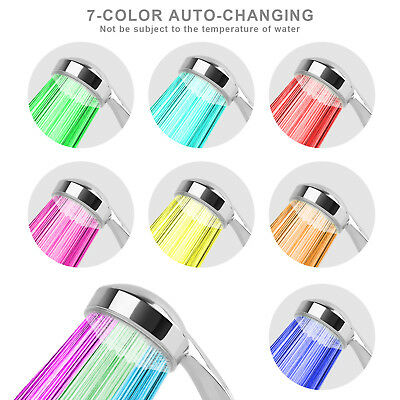 LED Shower Head Handheld 7 Color Changing Automatically Hydropower US STOCK