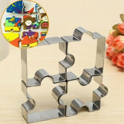 4Pcs Puzzle Mold Cookie Cutter Stainless Steel Biscuits Fondant Mold Baking Tool