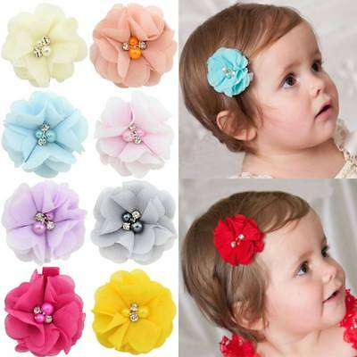 10Pcs Baby Girls Chiffon Flowers with Pearl Infant Hairpins Hair Clips Headwear