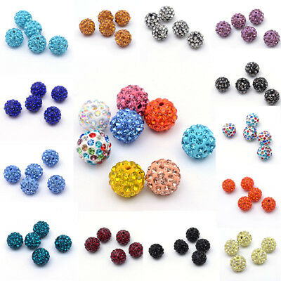 10Pc Czech Crystal Rhinestone Pave Clay Half Drilled Disco Round Ball Beads 12mm