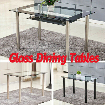 Modern Tempered Glass Dining Tables Kitchen Dining Room Metal Legs Black Clear
