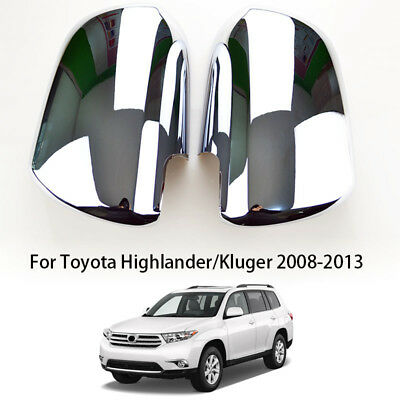 Pair Chrome Door Mirror Covers For Toyota Highlander Kluger XU40 2008 - 2013