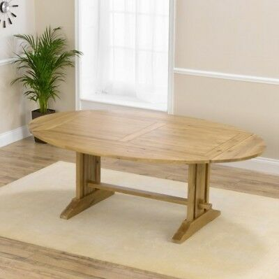 Farmhouse solid oak furniture oval extending dining table
