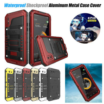Fr iPhone X 8 8+ Waterproof Shockproof LUPHIE Aluminum Metal Tempered Case Cover