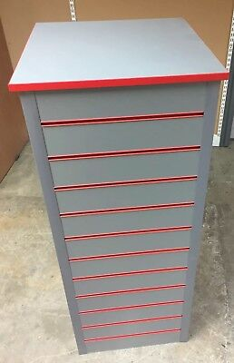SLATWALL UNIT. Silver With Red Edge and Inserts. Used Shop Display