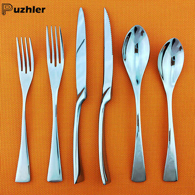 304 Stainless Steel Flatware Set Mirror Silver Spoon Knife Cutlery Service for 4