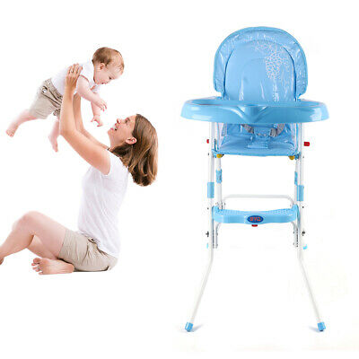 Collapsible Non-Slip Baby Feeding High Chair Infant Seat Height Adjustable Blue