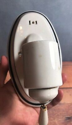 Vintage Oval Porcelain Bathroom Wall Sconce With Black Bands Pull Chain 7O
