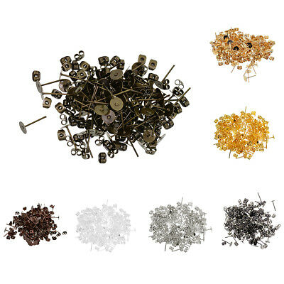 100 Sets 6mm Flat Pad Stud Earring Posts Backs Findings for Jewelry Making