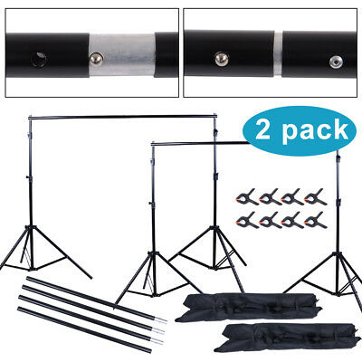2x 10ft Pro Photography Photo Backdrop Support Stand Set Background Crossbar Kit