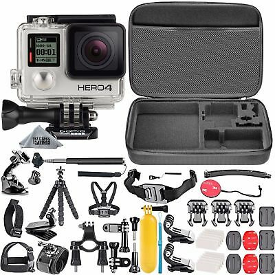 GoPro HERO 4 Silver Edition + Carry Case + 40 PCS Sports Accessory Bundle Kit